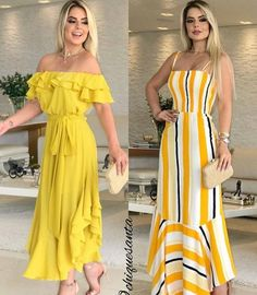 Love it - Salvabrani Coral Maxi Dresses, Casual Dresses, Summer Dresses, Modelos Fashion, Brunch Outfit, Over 50 Womens Fashion, Yellow Fashion, Fall Fashion Outfits, Knee Length Dresses