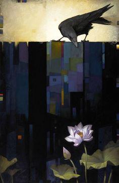 Craig Kosak Paintings - Bloom with raven Crow Art, Raven Art, Bird Art, Art And Illustration, Illustrations, Street Art, Crows Ravens, Beautiful Birds, Painting Inspiration
