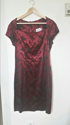 Size 14 red satin and black burnout velvet dress. Gently used. $25