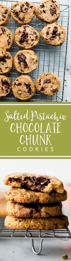 Salted pistachio chocolate chunk cookies have pistachio chunks, dark chocolate, brown sugar, sea salt, and a crunchy sugar edge! Recipe on sallysbakingaddiction.com