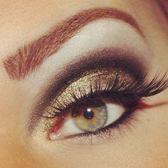 Gold and black #eye #makeup #smoky #dramatic