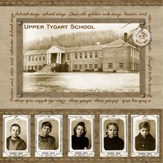 ".""School Days"" heritage layout: Upcycle an old school yearbook to make this, using a photo of the school building for background. Scan old photos with Pic Scanner app for iPhone & iPad, apply the app's retro filters, then reprint for use. Layout from digitalscrapbookplace.com."