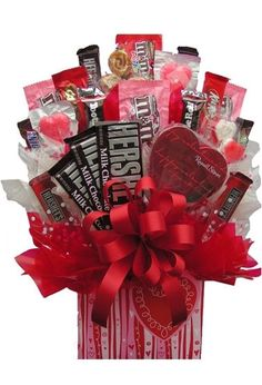 Valentines Day Basket By Saywhatchamean On Etsy   Candy Bar Bouquet Bouquet Box
