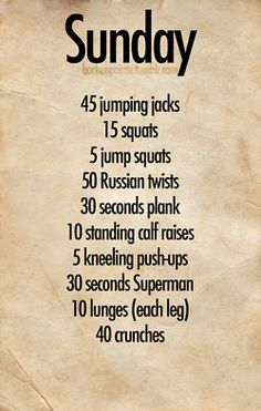 Workouts for each day of the week! I'll save these for days I'm unmotivated to go to the gym.