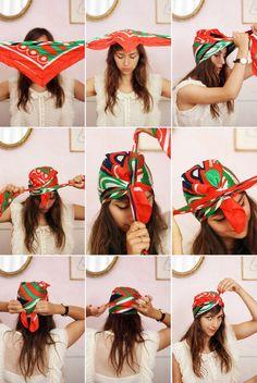 Cute way to style hair for the summer! - #haistyle #scarf #summerhair #bandana #etsy