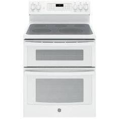 GE 6.6 cu. ft. Double Oven Electric Range with Self-Cleaning Convection Oven (Lower Oven Only) in White JB860DJWW at The Home Depot - Mobile