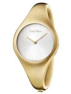 cool Calvin Klein Women's Gold-Tone Steel Bracelet & Case Swiss Quartz Silver-Tone Dial Analog Watch K7G1M516 just added...