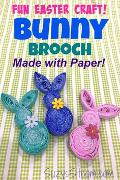 Create a cute DIY Bunny Brooch using the simple craft of paper quilling with this easy tutorial! This fun Easter Craft for adults or kids is sure to be a hit! crafts for teens Fun Easter Craft: Create a Bunny Brooch with Paper Easter Crafts For Adults, Crafts For Teens To Make, Bunny Crafts, Easter Crafts For Kids, Toddler Crafts, Diy And Crafts, Easter Art, Easter Decor, Easter Ideas