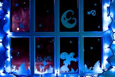 Printable Christmas Window Decorations. Cut, print and decorate your windows with silhouettes of a winter wonderland!
