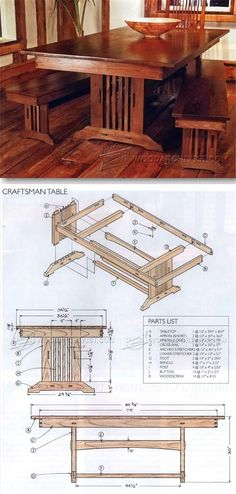 Craftsman Style Dining Table Plans - Furniture Plans and Projects   WoodArchivist.com