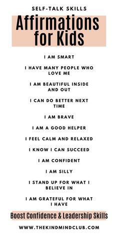 Gentle Parenting, Kids And Parenting, Parenting Hacks, Mindful Parenting, Peaceful Parenting, Positive Affirmations For Kids, Positive Self Talk, I Am Affirmations, Teaching Kids