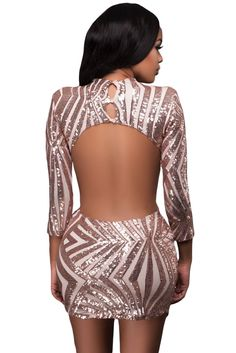 Champagne Sequin Detail Open Back Party Mini Dress Mini Club Dresses 73998c92aec3