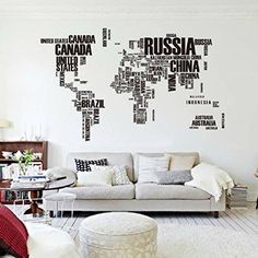 Black World Map Wall Sticker Living Room Home Decoration Car Decor Creative Decal DIY Mural Wall Art World Map Wall, Map Wall Art, Wall Murals, Wall Stickers Map, Vinyl Wall Decals, Vinyl Art, Sticker Mural, Room Stickers, Cheap Stickers