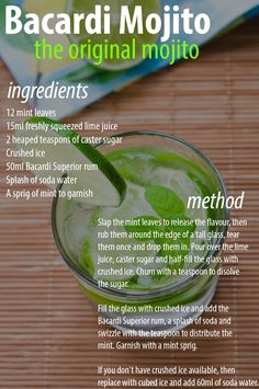 Bacardi Mojito - The Original Mojito Recipe @Jackie Godbold Godbold Whitman