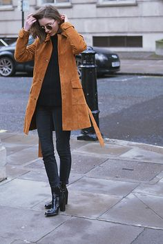 Xenia Klein - Zara Suede Trench, Asos Sweater, Topshop Cain Jeans, Zara Boots - Not blue suede