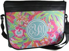 Laptop Bag in Lilly Pulitzer print. If you would like a Lilly print, please comment at www.monogramsmarkingsandmore.com