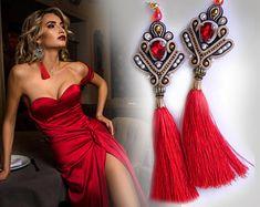 Earrings, soutache earrings, earrings tassels, red earrings, long earrings, gold earrings, soutache necklace,rhinestone earrings