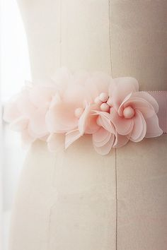 Pink Sash Wedding Belt with Satin Flowers Long by LegendDesign