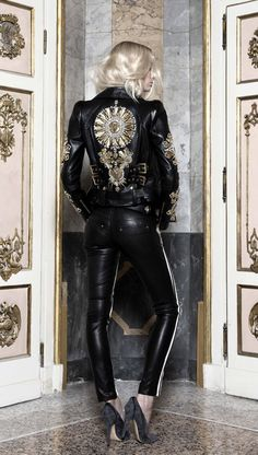 Fausto Puglisi SS13 Collection motorcycle jacket in black embellished leather
