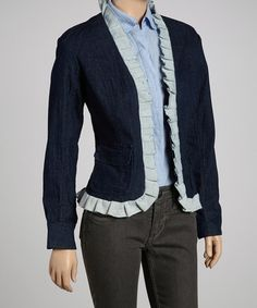 Take a look at this Light Blue & Navy Ruffle Denim Jacket by Live A Little on #zulily today!