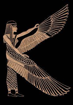 The Winged Isis by Jim Ross Egyptian Goddess Tattoo, Egyptian Isis, Egyptian Tattoo Sleeve, Isis Goddess, Egyptian Mythology, Egyptian Symbols, Goddess Art, Egyptian Art, Maat Goddess