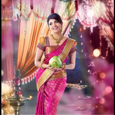 Kajal Agarwal in Bridal Saree – South indian actress kajal Agarwal in rani pink pure silk saree with gold zari border and gold buttis all over the saree. South Indian Wedding Saree, South Indian Bride, Saree Wedding, Indian Bridal, Bridal Sari, Indian Weddings, Wedding Wear, Indian Dresses, Indian Outfits