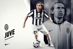 Pirlo no 21 Juventus Soccer Gear, Nike Soccer, Basketball, Sports Graphic Design, Sport Design, Juventus Wallpapers, Andrea Pirlo, Soccer Poster, Sports Marketing