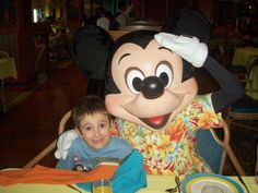 Corbin and Mickey Mouse at the character breaky Best Family Cruises, Mickey Mouse, Disney Characters, Baby Mouse