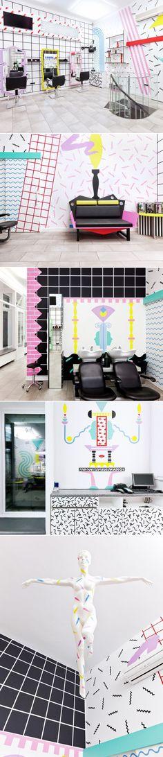 Salon de coiffure YMS par Kitsch Nitsch 2 @journal du design