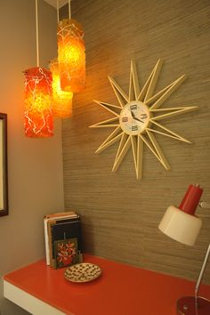 MCM Clock, Lights & Grass-cloth on Wall Because I didn't know whether to pin this under lighting or clocks!!