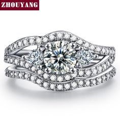 9 18K White Gold Plated Luxury Wedding Ring set Engagement AAA CZ diamond Jewelry For Women Christmas gift ZYR553
