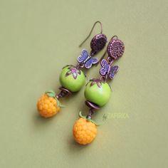 Yellow raspberry earrings