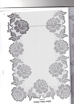 This Pin was discovered by Ayl Crochet Table Runner, Crochet Tablecloth, Crochet Doilies, Crochet Lace, Filet Crochet Charts, Crochet Borders, Crochet Stitches Patterns, Cross Stitch Rose, Cross Stitch Flowers