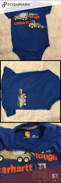 """Carhartt """"Tiny but Tough"""" onesie. 12M Very good used condition and cute as can be Carhartt onesie. Has additional snaps at neck for over the head ease. Smoke free/cat free home. Carhartt One Pieces"""