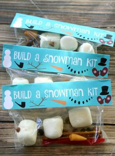 DIY Marshmallow snowman kit - fun winter craft for kids. Get the free printables and tutorial at http://MyPrintly.com.