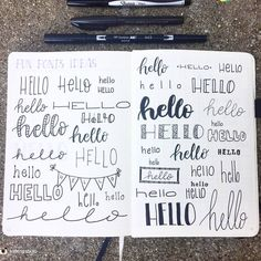 One of the most easy things to invent in this life is your own font! Go ahead and give it a try ✍ From the journal of Bullet Journal Headers, Bullet Journal Font, Journal Fonts, Bullet Journal Aesthetic, Hand Lettering Fonts, Creative Lettering, Handwriting Fonts, Lettering Styles, Lettering Tutorial