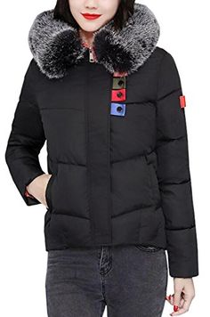 552c0bc258 LD Womens Fur Collar Color Block Winter Down Coat Padded Jacket Outerwear  Black S