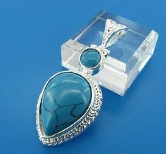 GEM009-Large Blue Turquoise Teardrop Pendant in Sterling silver