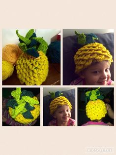 Pineapple beanie hat - my entry in Knitfest 2016 under the theme Exotica.  Used this pattern: http://www.allfreecrochet.com/Hats/Crochet-Crocodile-Stitch-Adult-Hat for the crocodile stitch base, then made a range of triangle shapes for the spines.