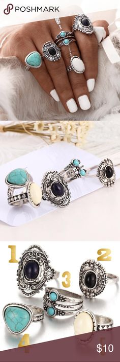 Bohemian vintage silver rings Offers welcome.      These rings are literally the best! They are so cute for the summer and so stylin! 💗💗💗 if you have any questions let me know!                          The rings are listed by # in the last picture so you can just purchase the # of the one you want! The numbers are not the size of the ring. 🙃 Jewelry Rings
