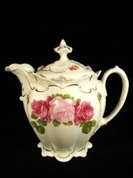 vintage tea pot; pink & red roses on white, with really short pouring snout