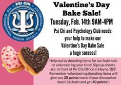 Don't forget, the bake sale is today! If you'd like to donate, here's the list of what to bring:  Red & pink balloons Donuts Kolaches Breakfast tacos Frosted cupcakes (love/heart themed) Frosted cookies (love/heart themed) Cake pops (love/heart themed) Water & soft...