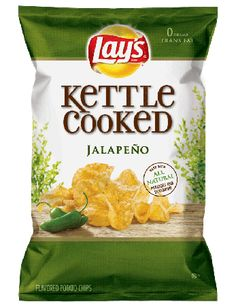 Lay's Kettle Cooked Jalapeno Flavored Potato Chips combine the delicious goodness of farm-grown potatoes and real jalapenos with a kettle-cooked crunc. Jalapeno Chips, Kettle Cooked Chips, Organic Food Shop, Food Packaging Design, Chip Packaging, Vegetable Shop, Chips Brands, Meat Shop, Kosher Recipes