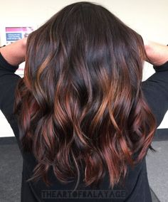 60 Hairstyles Featuring Dark Brown Hair with Highlights Sexy Cinnamon Spirals Black Hair With Red Highlights, Bright Red Hair, Brown Hair Colors, Hair Highlights, Peekaboo Highlights, Chunky Highlights, Caramel Highlights, Ombre Hair Color For Brunettes, Brown Balayage