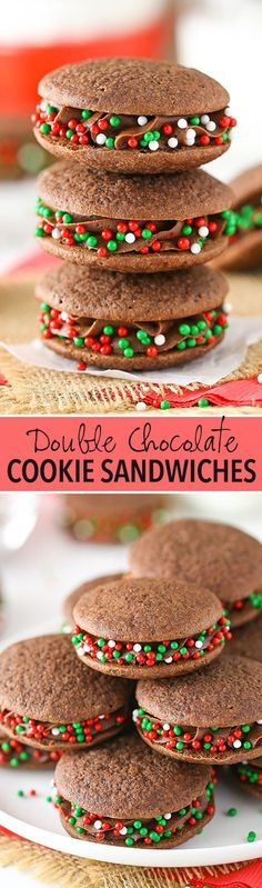 Double Chocolate Cookie Sandwiches! Soft chocolate cookies with chocolate frosting inside - they melt right in your mouth!
