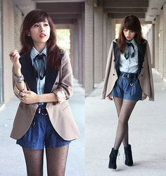 Its just a bad day. Not a bad life. (by Linda Tran N) http://lookbook.nu/look/2746973-Blazer-Denim-Shirt-Shorts-Boots-It-S-Just-A-Bad-