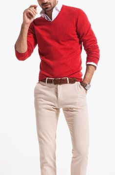 red v neck sweater with chinos