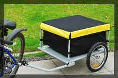 Aosom Cargo Bike Trailer - Yellow / HomCom Elite Luggage Black Steel Frame Bicycle Cart Carrier For Shopping Handy covered bicycle trailer Motorcycle Cargo Trailer, Motorcycle Camping, Cargo Bike, Camping Gear, Camping Stuff, Bicycle Cart, Volkswagen, Bug Out Vehicle, Commute To Work
