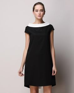 Check the details and price of this Classic Short Sleeve Chiffon Shift Mini Dress (Black White, SAINTY) and buy it online. VIPme.com offers high-quality Day Dresses at affordable price.