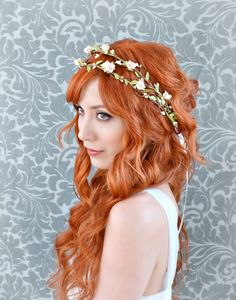 Bridal headband, pink flower crown, woodland hair wreath, whimsical wedding hair accessories by Gardens of Whimsy on Etsy on Etsy, $70.00
